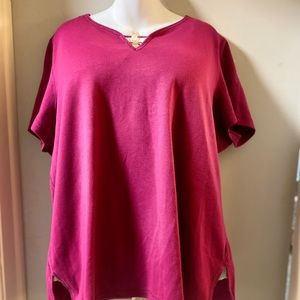 NEOT Avenue Pink T shirt with circle bead embellis